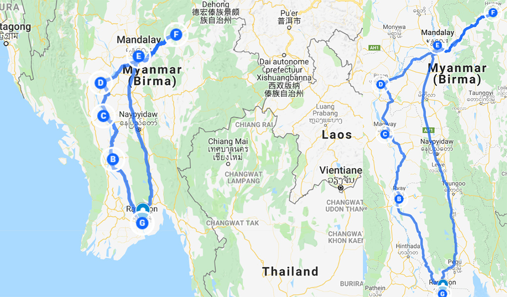 route Myanmar kaart
