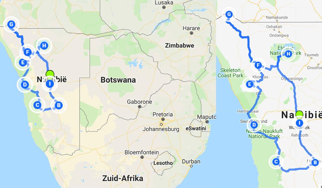 route Namibië rondreis kaart