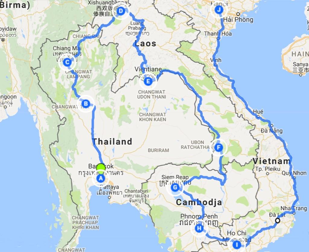 route Zuid-Oost Azië 3 maanden
