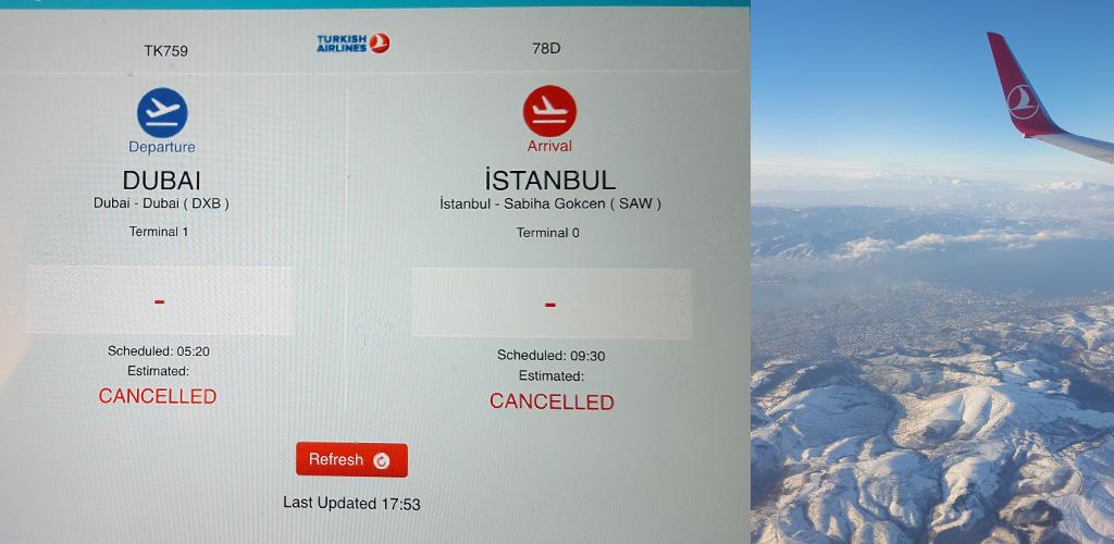 Sneeuw in Turkije zorgt ervoor dat de vlucht geannuleerd wordt