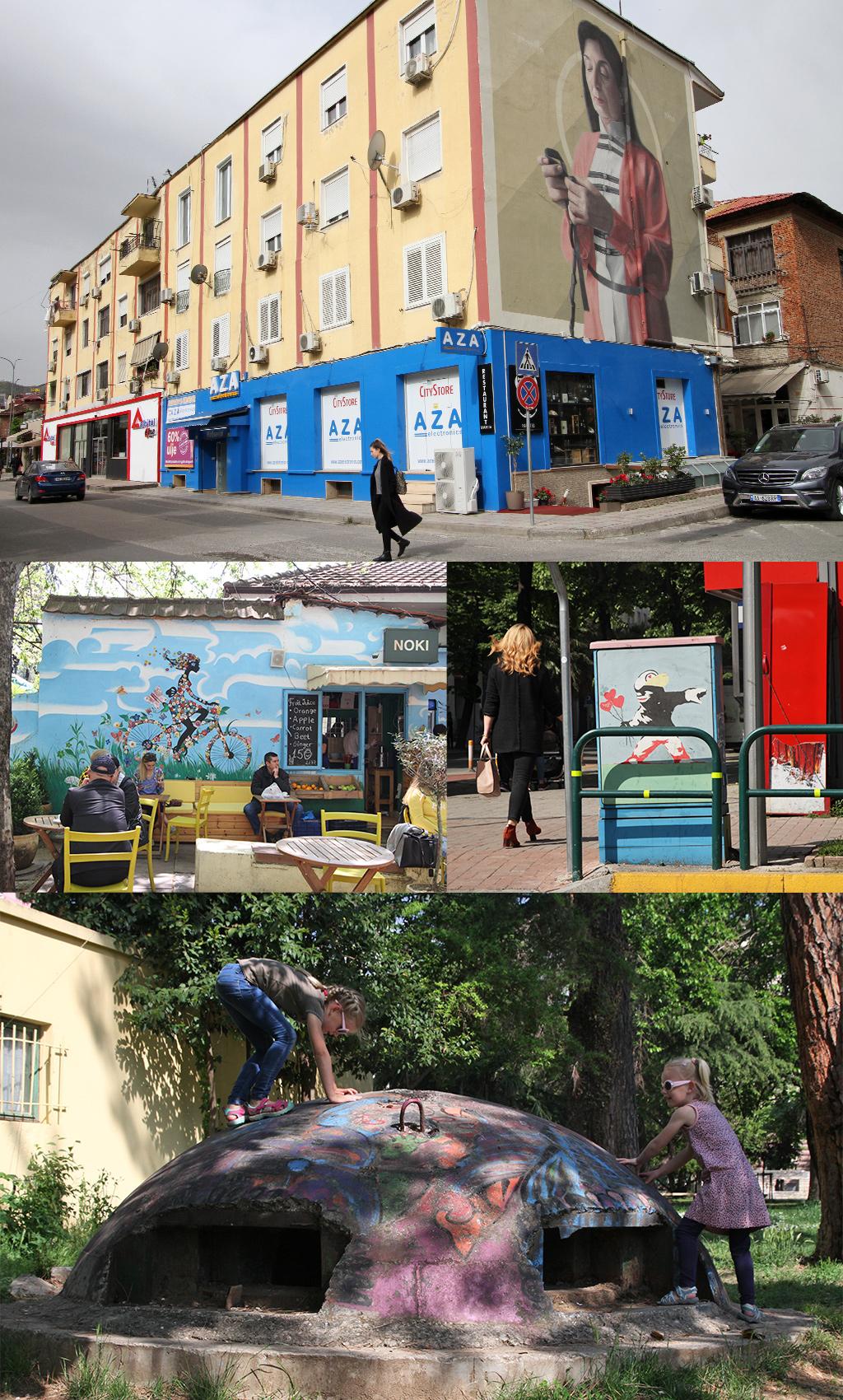 street art Tirana gebouwen bunkers stroomhuisjes