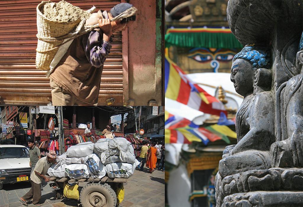 Tempels en drukte Thamel Kathmandu