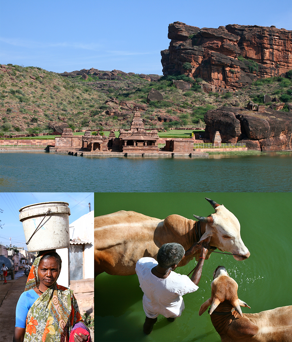 tempels en het lokale leven in Badami Zuid-India