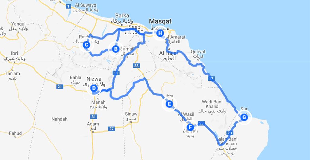 toffe route Oman rondreis kaart
