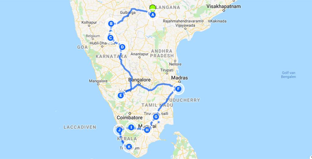 ultieme route door Zuid-India