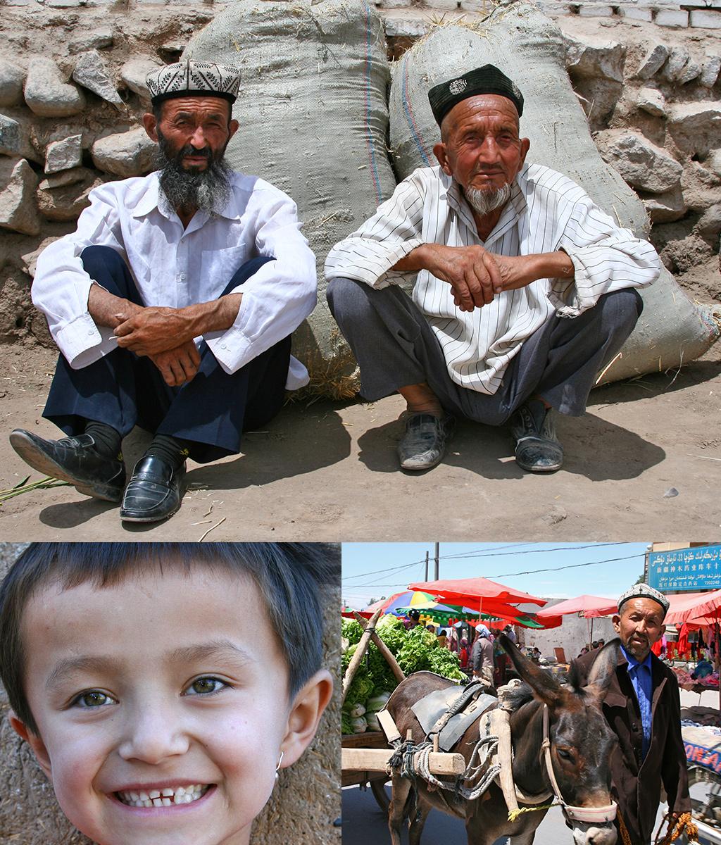 vriendelijke Oeigoeren langs de Zijderoute in China