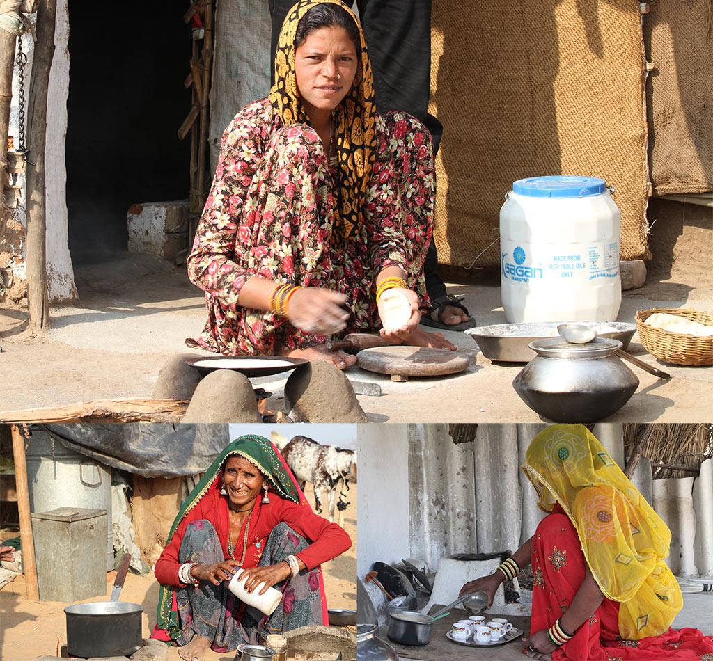 Vrouwen in India koken vaak buiten