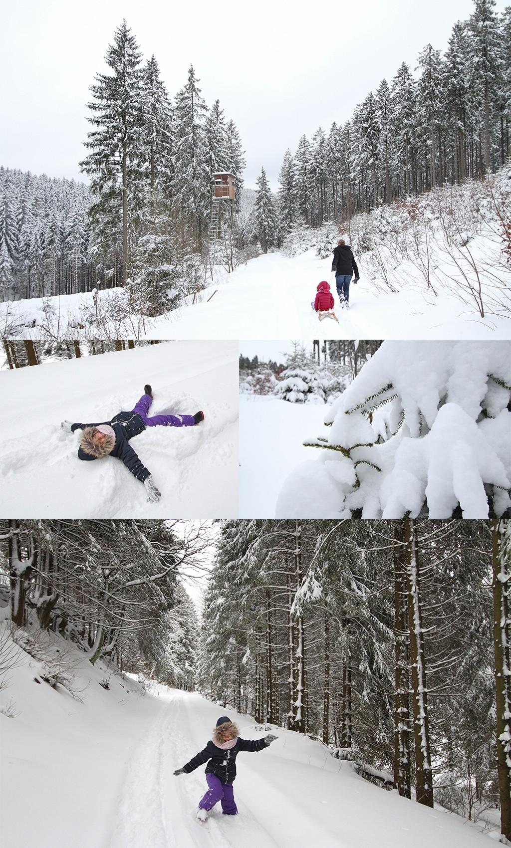 wandelen en sneeuwengel maken Rothaargebirge