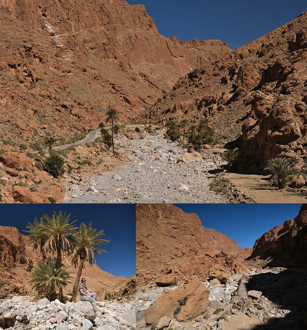 wandeling door de rivierbedding Todra kloof