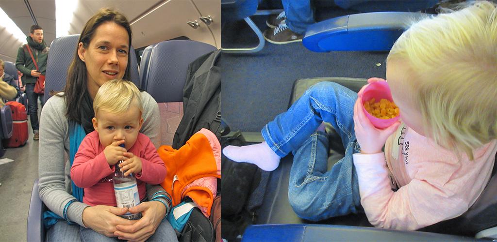 water en droge snacks voor reizen met kinderen