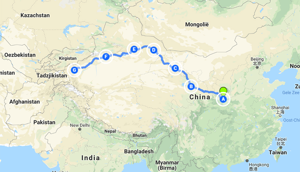 zijderoute in China kaart