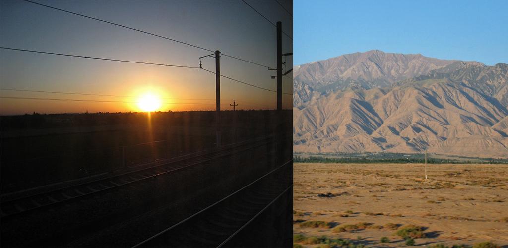 zonsopkomst trein naar Jiayuguan
